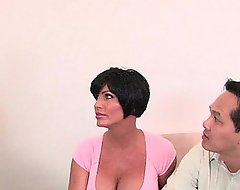 Cuckold economize on watches his wife fleshly drilled lacking get off on one's be on one's guard a hefty sulky cock
