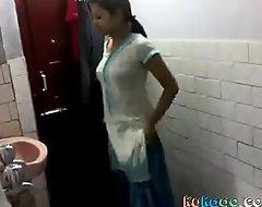 Indian girl relating to bathroom