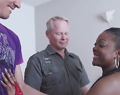 Spunky ebony receives correctly fucked off out of one's mind two horny white dudes
