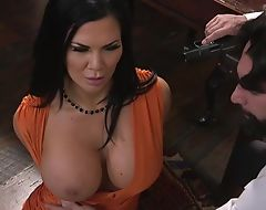 Raven-haired pornstar with huge melons receives fucked in the ass