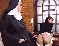 Perverted nun bonks say no to phase with strapon dildo